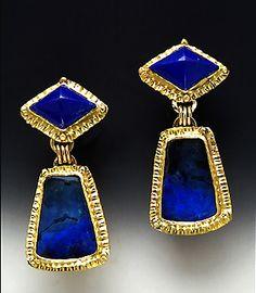 Laurie MacAdam earrings - Boulder Opal, Lapis 14 Karat gold