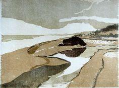 Francesca de Csipkay-Brehm - On Oregon Coast, 10 x 13.5 woodcut