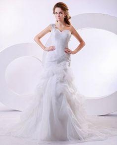 Robe de mariage épaule asymétrique en organza drapée fleurs