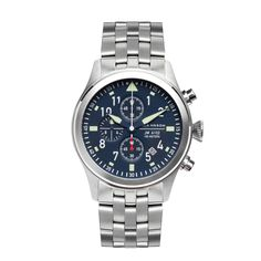 JM-A102-025 Aviator Chronograph Watch with Stainless Steel Bracelet, Super Luminova markings and classic aviator watch details on the dial.