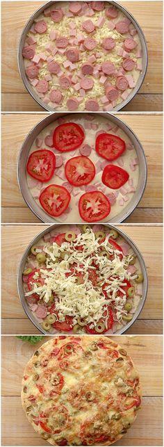 Esse BOLO DE PIZZA é simplesmente o MELHOR LANCHE que você vai comer na vida! (veja a receita passo a passo) #pizza #bolo #bolodepizza
