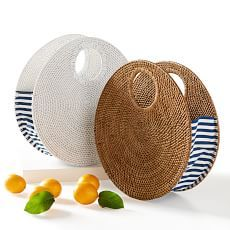 Handmade in Indonesia, this rattan and canvas circle handbag is this season's must-have. Designed in a modern circular shape, this on-trend accessory has navy striped panels for a flawless summer style you will want to take with you every Handbags On Sale, Luxury Handbags, Bags Online Shopping, Purse Styles, Knitted Bags, Handmade Bags, Fashion Bags, Jewelry Gifts, Ideias Fashion