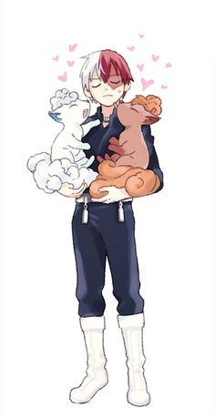 My Hero Academia (僕のヒーローアカデミア) and Pokémon crossover - Shouto Todoroki (轟 焦凍) Boku No Hero Academia, My Hero Academia Memes, Hero Academia Characters, My Hero Academia Manga, Anime Characters, Anime Figures, Pokemon Crossover, Anime Crossover, Original Anime