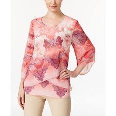Jm Collection Petite Printed Criss-Cross Blouse, ($40) ❤ liked on Polyvore featuring tops, blouses, pacific chant pink, jm collection tops, pink blouse, red top, jm collection and criss cross top