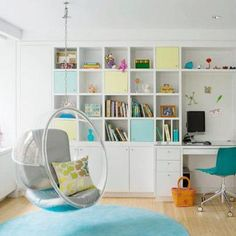 32 Interior Designs with Hanging Bubble Chair - MessageNote Bubble Chair, Bookshelves Kids, Expedit Bookcase, Ikea Expedit, Bookcases, Kid Desk, Kids Room Design, Nursery Design, Swinging Chair