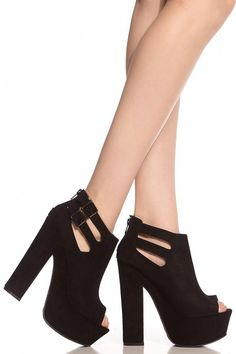 1119e6cc2d8 Buy Black Faux Suede Peep Toe Chunky Platform Heels with cheap price and  high quality from Cicihot Heel Shoes online store which also sales Stiletto  Heel ...