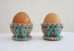 Hand Crochet Egg Cups in brown Easter Egg Cups Spring by GAVIY