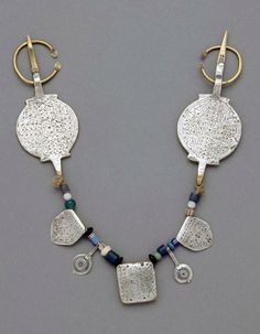 Morocco | Fibula; silver, glass, metal, copper/brass | African Museum (Belgium) Collection; acquired 1989