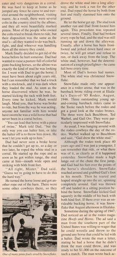 """Feek Tooke's Rodeo Broncs"", old article from ""Western Horsmean"", page 3."