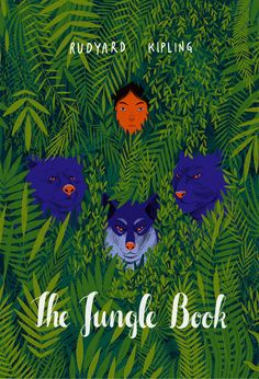 Book jacket done for The Jungle Book by Rudyard Kipling with elements referencing his most famous stories - the ones about Mowgli.