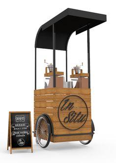 รถเข็น In Situ coffee cart Kiosk Design, Cafe Design, Store Design, Mobile Coffee Cart, Mobile Coffee Shop, Small Coffee Shop, Coffee Shop Design, Food Cart Design, Coffee Trailer