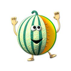 Cantaloupe cartoon S Art Drawings For Kids, Cartoon Drawings, Cute Drawings, Whatsoever Things Are Lovely, March Themes, Funny Fruit, Food Clipart, Cute Sheep, Colorful Fruit