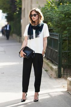 long bob, wrapped scarf, white silk top, Celine bag, black pants and patent pumps