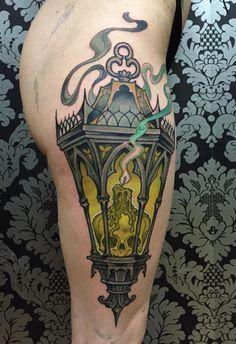 Fetal skull lantern, largest piece I've done in a single sitting - Matt Buck @ Sacred Tattoo, NYC