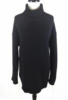 DKNY Sweater Wool Knit Black Turtleneck Heavy Long Sleeve Luxury Tunic Womens S   eBay