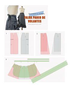 Falda_pareo_con_volantes_moda_y_tutoriales_DIY_patron_paso_a_paso Sewing Tutorials, Sewing Patterns, Pattern Making, Diy Clothes, Diy Fashion, Ballet Skirt, Two Piece Skirt Set, Street Style, Style Inspiration