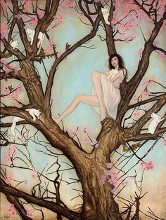 Girl in cherry blossom tree art