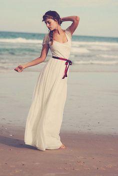 short sleeve scoop neck chiffon a line beach custom wedding dress
