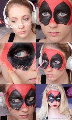 Step by step deadpool mask by Creator Miranda van Rijssen (Maquillaje Halloween Mitad) Deadpool Halloween, Marvel Halloween Costumes, Deadpool Mask, Deadpool Cosplay, Lady Deadpool, Halloween Cosplay, Cosplay Diy, Cosplay Ideas, Costume Ideas