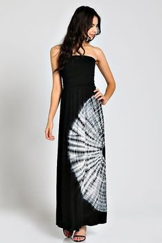 BLACK WHITE TIE DYE CIRCULAR STRAPLESS TUBE SILKY KNIT MAXI DRESS SUNDRESS S M L #WearItLikeADiva #Maxi #Casual