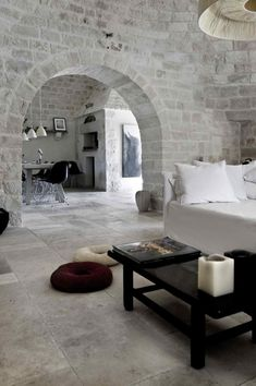 Trulli Summer House in Alberobello, Italy. I can see myself lounging next to my husband in this room. Interior Architecture, Interior And Exterior, Stone Interior, Interior Office, Italian Villa, Home And Deco, My Dream Home, Interior Inspiration, Interior Ideas