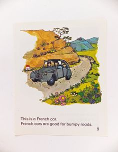French Car Picture. Childrens Art. Vintage Storybook Print. Citroen car, Home Decor. on Etsy, £4.50