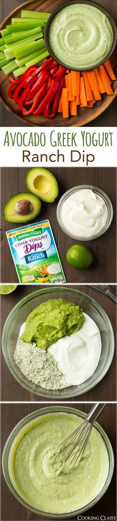 Avocado Greek Yogurt Ranch Dip - only 4 ingredients and a breeze to make! Avocado Greek Yogurt Ranch Dip - only 4 ingredients and a breeze to make! So delicious, even my kids loved it! It& so good as a dip for grilled chicken too. I Love Food, Good Food, Yummy Food, Tasty, Healthy Snacks, Healthy Eating, Healthy Recipes, Dip Recipes, Yogurt Recipes