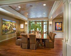 Kristin Peake Interiors, LLC.                 Love the table configuration.