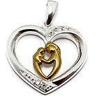 925 Sterling Silver 18K Gold Plated Mother and Baby Child Pendant Love Heart Mom