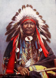 Early 20th century portrait postcard by Raphael Tuck & Sons, London, of Chief Black Chicken of the Yankton Dakota, a division of the Great Sioux Nation. This hand-colored card was not postally used, but was probably printed and sold around 1908-13.