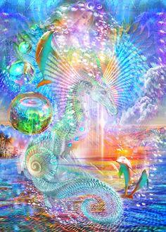 Bright Colors Art, Sea Life Art, After Life, New Earth, Rainbow Art, Human Art, Visionary Art, Ancient Aliens, Sacred Art