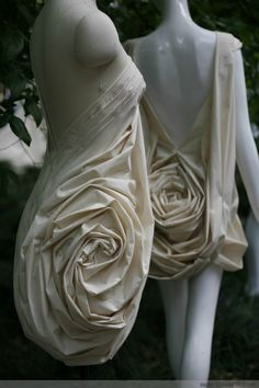 3D Textiles - fabric manipulation for fashion design; sculptural rose textured dress; creative surface creation