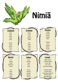 Julisteita eri kielillä (nimiä, numerot, värit, tervehdyksiä...)