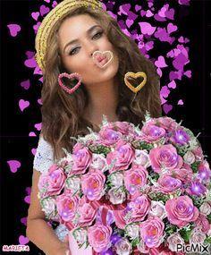 Besos de corazones en una bella dama.