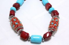 Turquoise, Coral, and Indian Kashmiri Beads Necklace N1165, $37