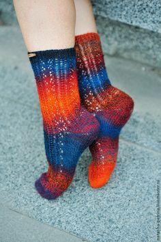 Носочки Crazy socks сине-оранжевые. Handmade.