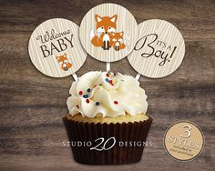 Instant Download Orange Fox Cupcake Toppers 2 by Studio20Designs