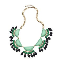 Blu Bijoux Gold with Crystals Green Black and Mint Crescents Bib Necklace