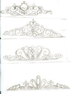 Tiaras for princess cake. Tiara Patterns to use if you want to. Royal Icing Templates, Royal Icing Transfers, Cake Templates, Piping Templates, Royal Icing Piping, Cake Piping, Cake Decorating Techniques, Cake Decorating Tutorials, Piping Patterns