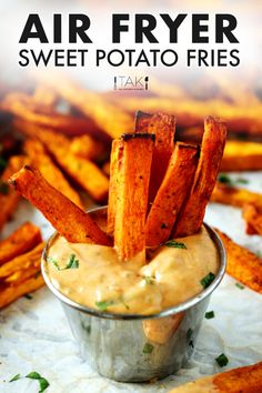 These Air Fryer Sweet Potato Fries are easy to make and simply addictive thanks to a simple blend of three spices! Crispy on the outside and pillowy soft on the inside. The perfect side dish for cutting back on fat and calories without having to cut back on flavor, and still getting that comfort food fill! You can also serve them as an appetizer or on their lonesome as a healthy snack. Gluten Free Sides Dishes, Vegan Side Dishes, Side Dishes Easy, Side Dish Recipes, Sweet Potato Fry Dip, Air Fryer Sweet Potato Fries, Best Appetizer Recipes, Best Appetizers, Easy Starters