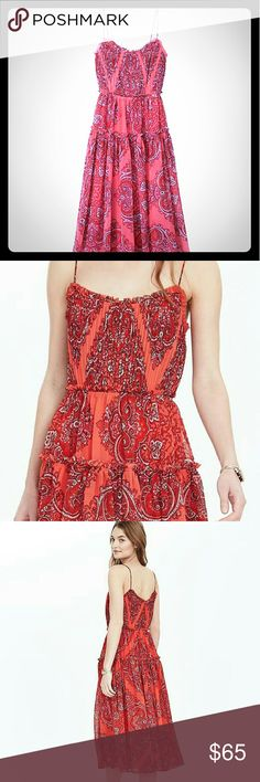 Paisley Strappy Midi Dress Banana Republic Paisley Midi dress. Ultra-thin straps and graceful tiers. This dress was worn once. Perfect piece for a summer wedding or night out on the town. ***No Trades*** Banana Republic Dresses Midi