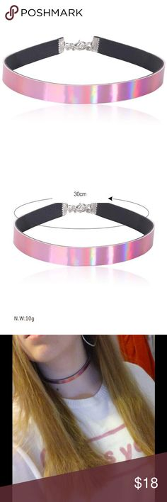 JUST IN! Pink Holographic Choker!  This super cute, pink holographic choker features a silver clasp and trendy design! You need this necklace! Quantities Limited! Jewelry Necklaces