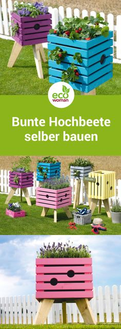 Build a great raised bed yourself, colorful plant box - the colorful raised beds for p ., , Build a great raised bed yourself, colorful plant box - the colorful raised beds for plants are a real eye-catcher and offer plenty of space for fresh. Balcony Plants, Patio Plants, Balcony Gardening, Gardening Hacks, Garden Landscaping, Colorful Plants, Colorful Garden, Raised Garden Beds, Raised Beds