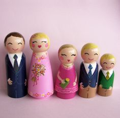Custom Family of 5 hand painted peg dolls by Hand Painted Love Boxes via Etsy