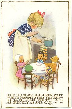 "Cooking for the ""family"", Susan B. Pearse postcard, 1923"