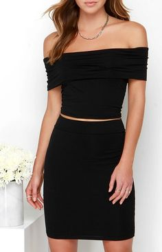 Off to the Races Black Off-the-Shoulder Two-Piece Dress
