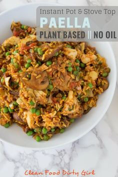 Introducing CFDG Dirty Dates! + Instant Pot Plant Based Paella (oil free) - Instant Pot and Stove Top Paella. Vegetarian Paella, Vegetarian Recipes, Healthy Recipes, Instapot Vegan Recipes, Healthy Meals, Healthy Food, Clean Recipes, Whole Food Recipes, Cooking Recipes