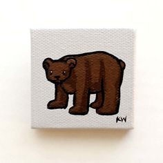 "Bear Painting Miniature Tiny Art  Original Acrylic on 2""x2"" Canvas by Karen Watkins kmwatkins"