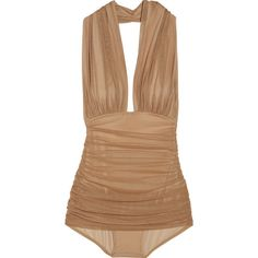 Norma Kamali Halter Robin ruched mesh bodysuit (€320) ❤ liked on Polyvore featuring swimwear, one-piece swimsuits, tops, swimsuits, bodysuit, swim, women, halter swim top, halter one piece swimsuit and swimsuit swimwear