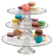 Serve fresh tarts or delectable macaroons atop this 3-tier glass dessert stand, showcasing a pedestal base and scalloped edges.   P...